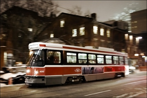 Toronto Streetcar Operating in Snow