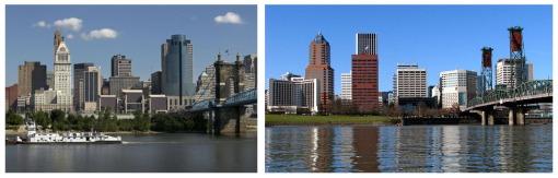 Skylines of Cincinnati and Portland