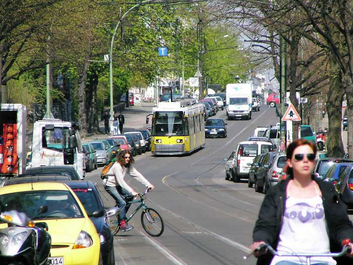 Modern Streetcar in Traffic