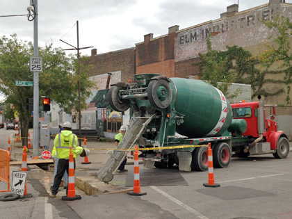 Work for underground conduit crossings near Race and Liberty streets continued this week.