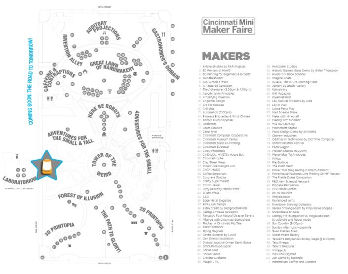 Map of exhibits at Cincinnati Maker Faire